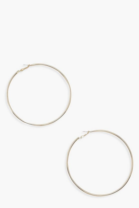 Womens Gold Plain 9cm Hoop Earrings