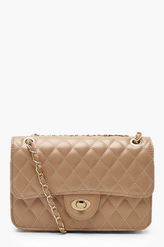 Womens Ecru PU Quilted Cross Body