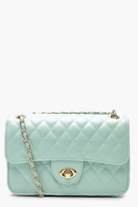 Womens Blue PU Quilted Cross Body Bag
