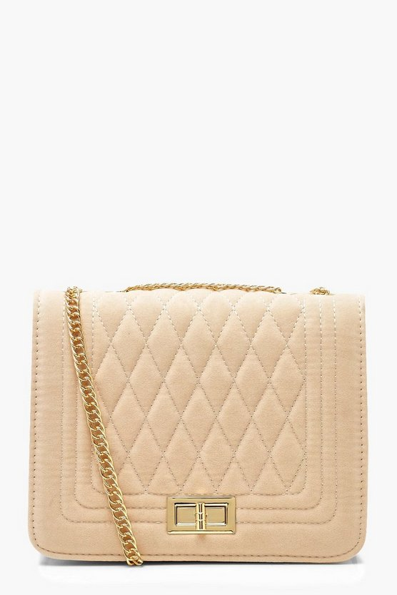 Womens Ecru Suedette Quilted Cross Body
