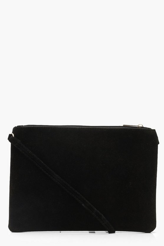 Womens Black Suedette Cross Body