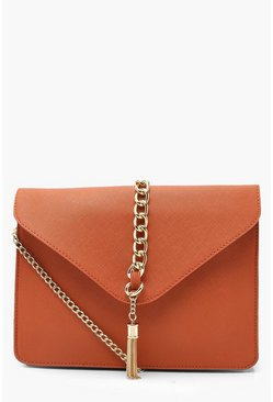 Womens Rust Crosshatch Chain & Tassel Cross Body