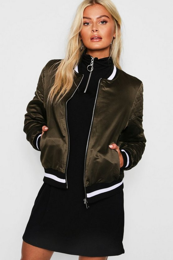 Womens Satin Bomber Jacket