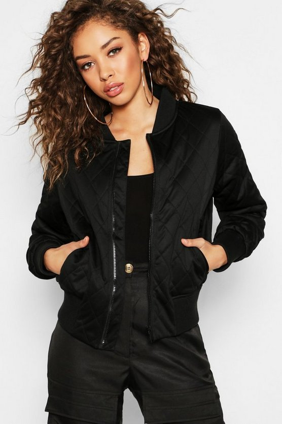 Womens Black Quilted Bomber Jacket