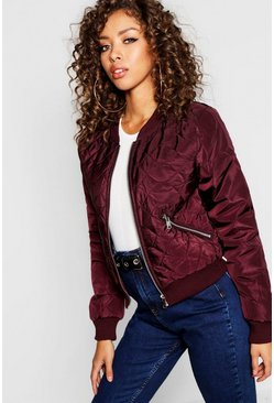 Womens Berry Quilted Bomber Jacket