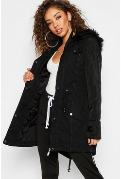 Dam Black Faux Leather Sleeve Faux Fur Trim Parka