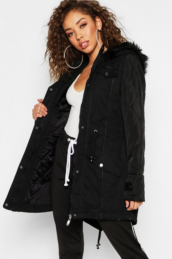 Womens Black Faux Leather Sleeve Faux Fur Trim Parka