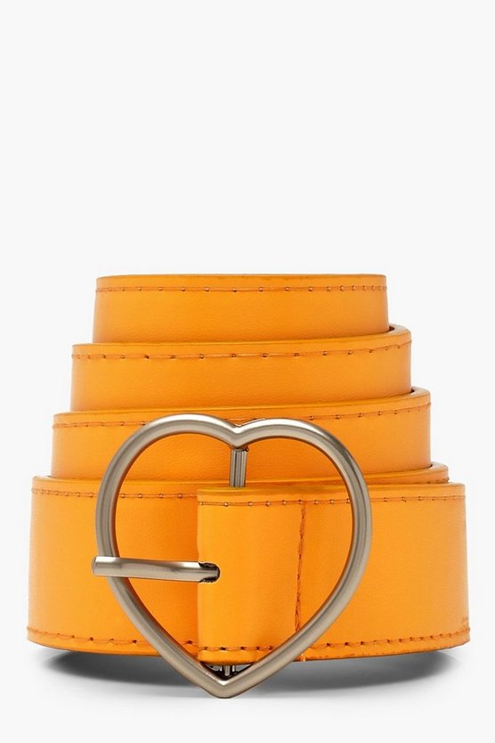 Womens Orange Love Heart Buckle Boyfriend Belt