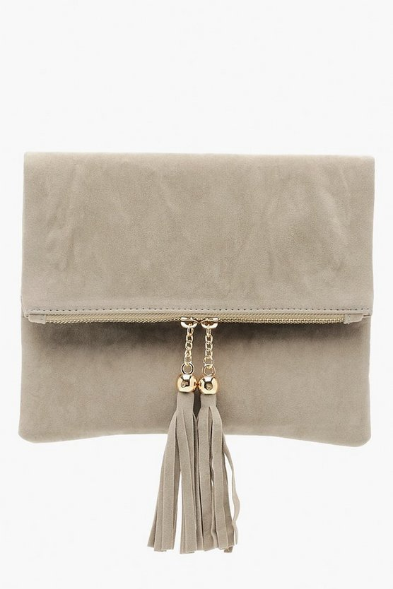 Double Tassel Foldover Clutch & Chain