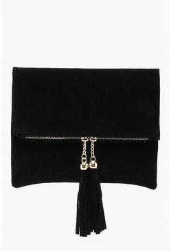 Womens Black Tassel Foldover Clutch Bag & Chain