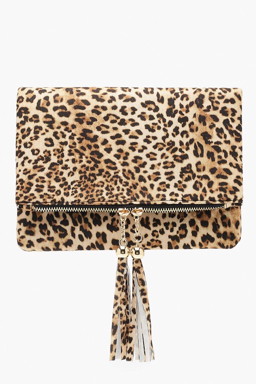 Leopard Double Tassel Foldover Clutch