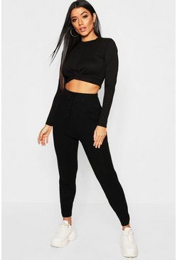 Knitted Jogging Bottoms With Rib Cuff Detail, Black, Женские