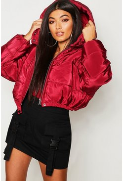 Dam Wine Crop Hooded Puffer Jacket
