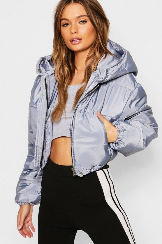 Grey Crop Hooded Puffer Jacket