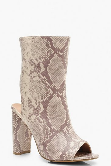 Womens Nude Extra Wide Fit Snake Peeptoe Shoe Boots