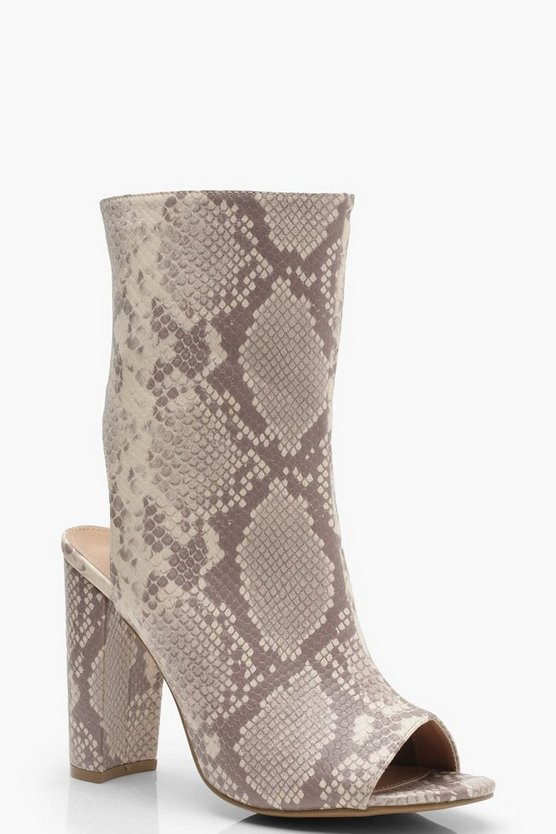 Womens Nude Wide Fit Snake Peeptoe Shoe Boots
