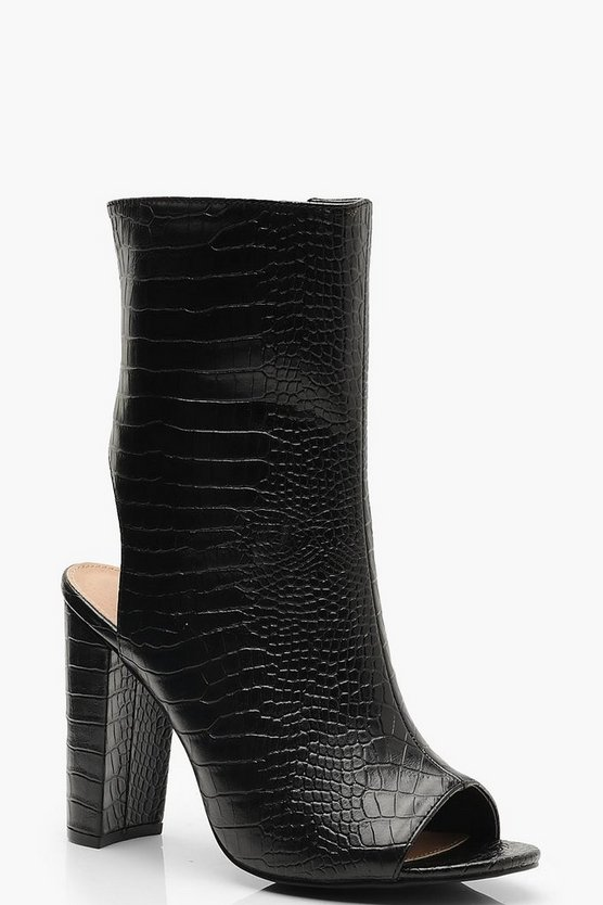 Womens Black Wide Fit Croc Peeptoe Shoe Boots