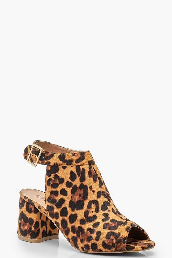 Wide Fit Leopard Peeptoe Shoe Boots