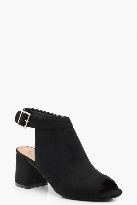 Black Extra Wide Fit Peeptoe Shoe Boots