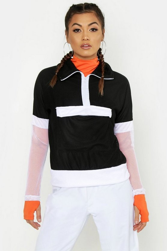 Womens Black Fit Mesh Jacket