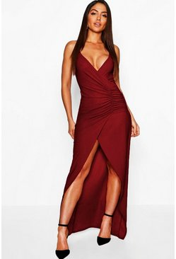 Womens Berry Crepe Plunge Wrap Detail Maxi Dress