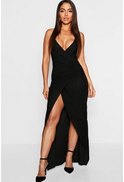 Womens Black Crepe Plunge Wrap Detail Maxi Dress