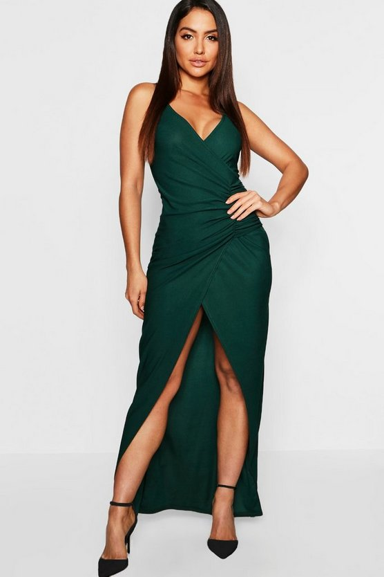 Womens Emerald Crepe Plunge Wrap Detail Maxi Dress