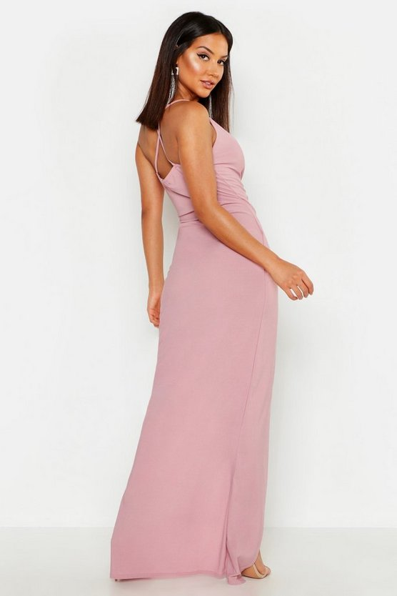 Crepe Plunge Wrap Detail Maxi Dress