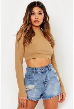Womens Camel Ribbed High Neck Long Sleeve Crop Top