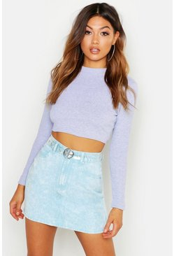 Womens Grey marl Ribbed High Neck Long Sleeve Crop Top
