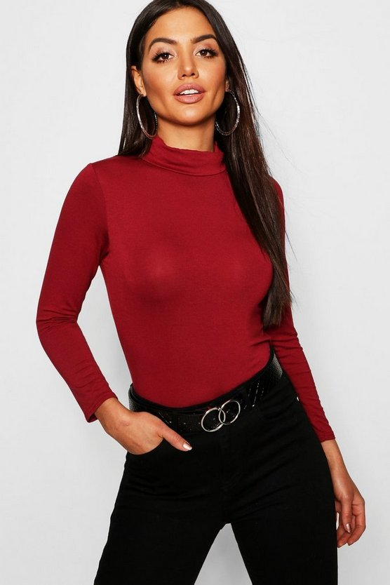 Womens Berry Turtle Neck Long Sleeve Top