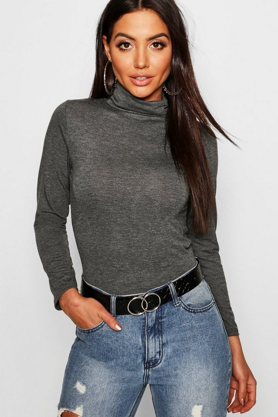 Womens Charcoal Turtle Neck Long Sleeve Top