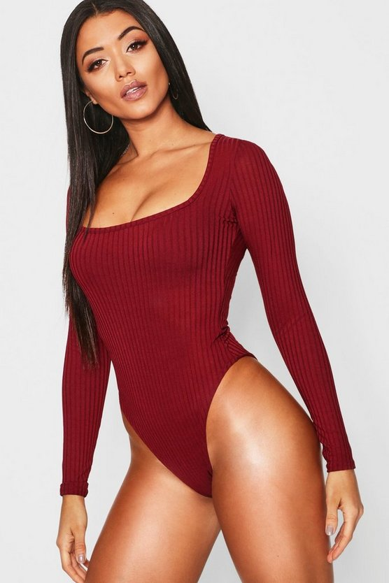 Square Neck Rib Long Sleeve Bodysuit