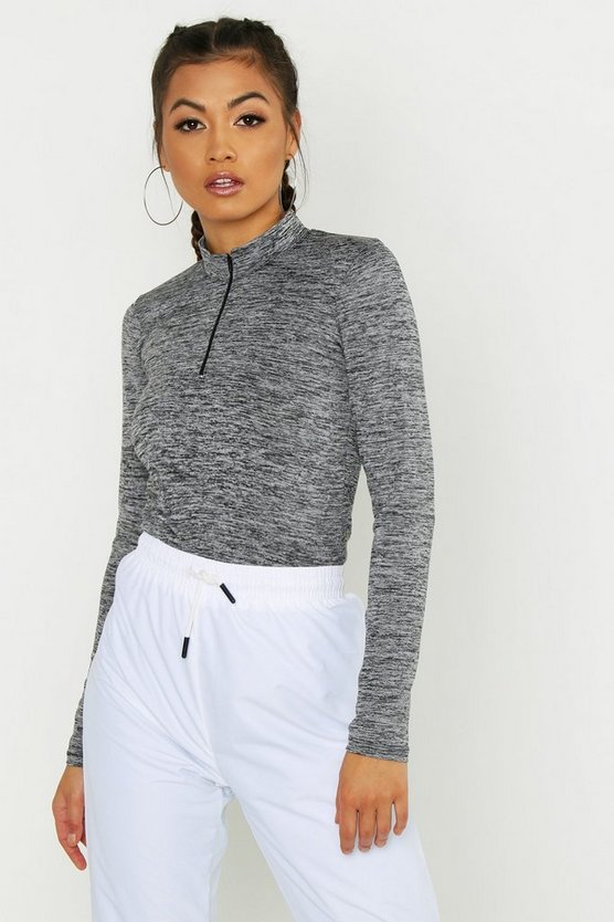 Womens Grey marl Fit High Neck Zip Up Top