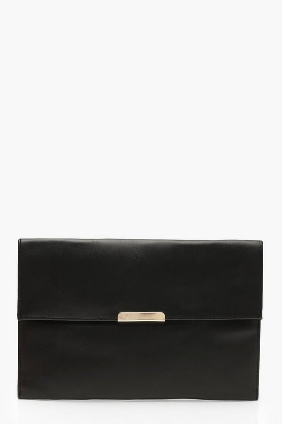 Womens Black PU & Bar Envelope Clutch Bag