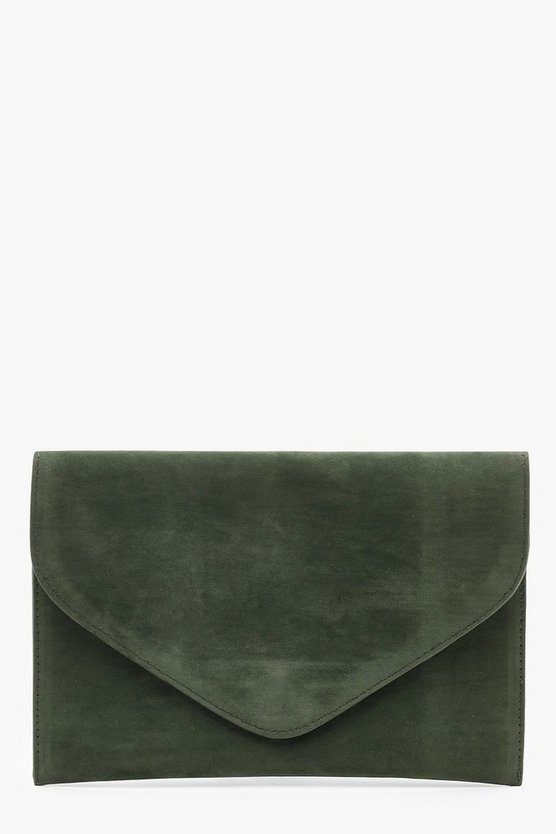 Womens Green Suedette Envelope Clutch