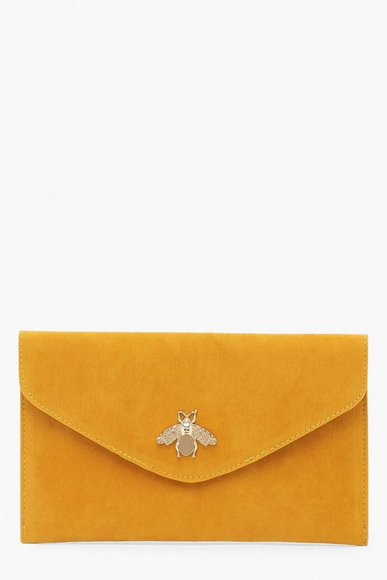Mustard Metal Bug Envelop Clutch Bag