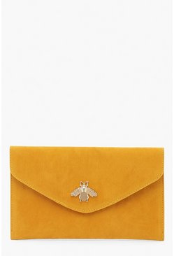 Womens Mustard Metal Bug Envelop Clutch Bag