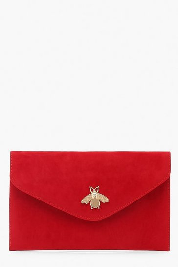 Womens Red Metal Bug Envelop Clutch Bag