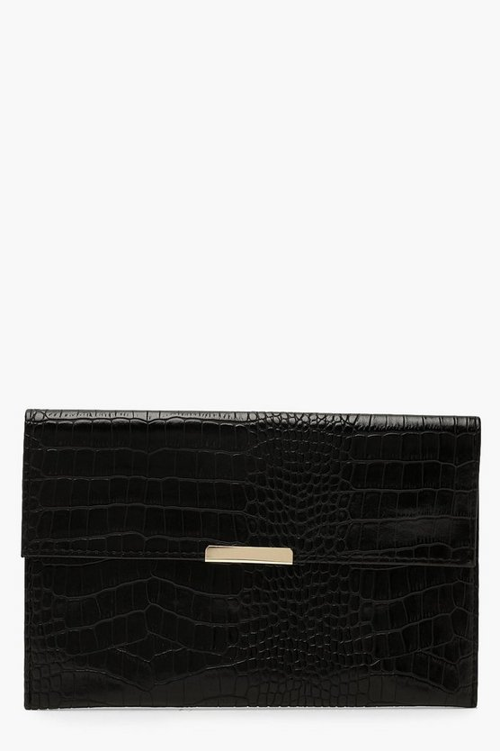 Womens Black Croc PU & Bar Clutch