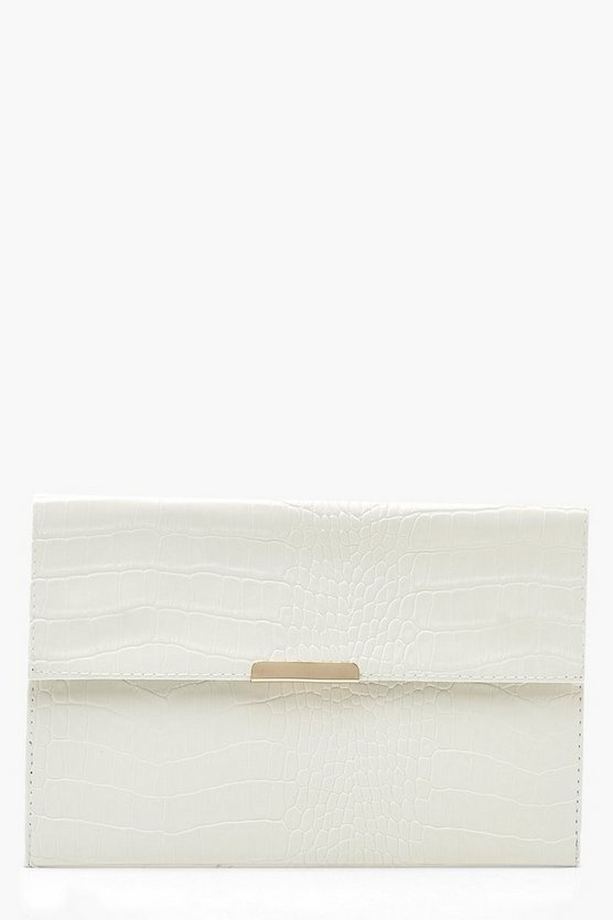 Croc PU & Bar Clutch