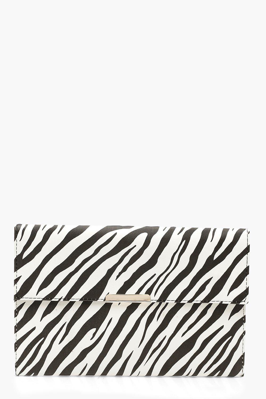 Zebra PU & Bar Clutch