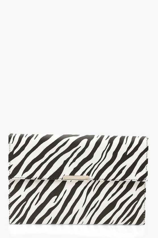 Womens White Zebra PU & Bar Clutch