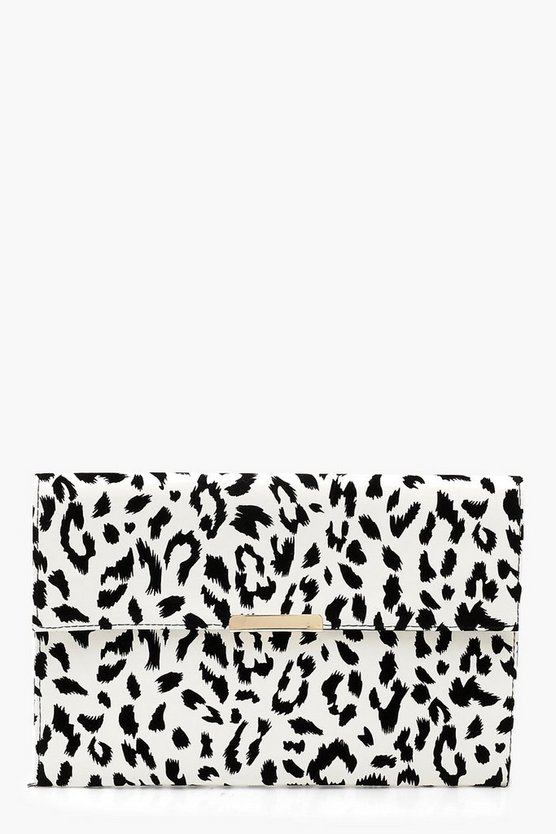 Womens White Mono Leopard PU & Bar Clutch