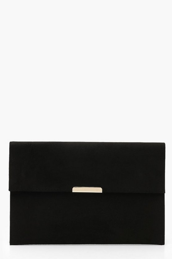 Womens Black Suedette & Bar Envelope Clutch