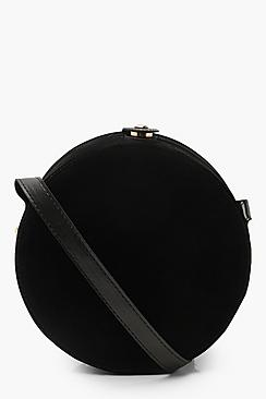 Suedette Structured Round Drum Cross Body