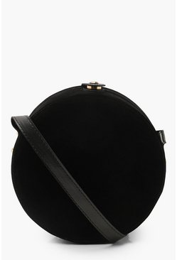 Womens Black Suedette Round Drum Cross Body Bag