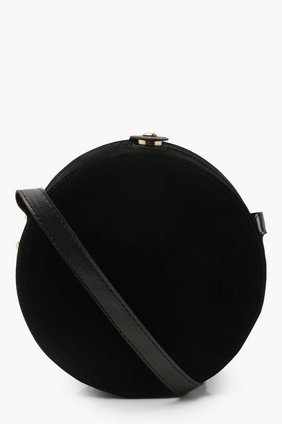 Womens Black Suedette Structured Round Drum Cross Body