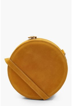 Womens Mustard Suedette Round Drum Cross Body Bag