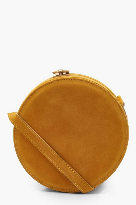 Womens Mustard Suedette Structured Round Drum Cross Body